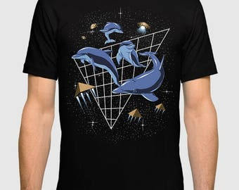 Dolphins in Space Men's Women's Cotton T-Shirt