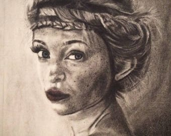 Charcoal portrait-Braided