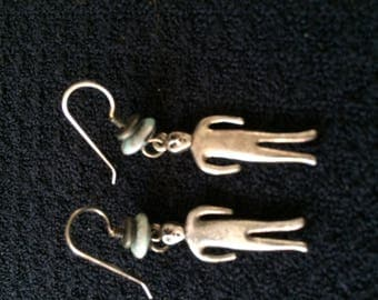 People Earrings Vintage Rare Person Dangle Sterling silver retro