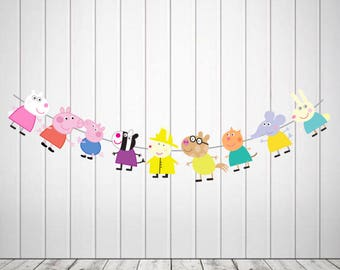 Peppa pig Character string printable, peppa pig party decoration, peppa pig party supplies, peppa pig theme, peppa pig toppers, peppa pig