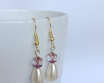 Original design handmade purple Czech glass and drop pearls earrings