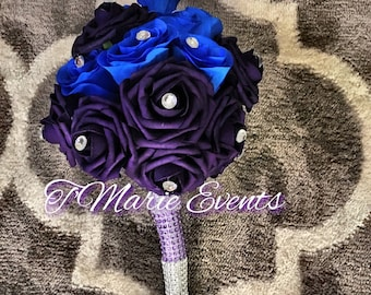 Royal blue and purple bouquet