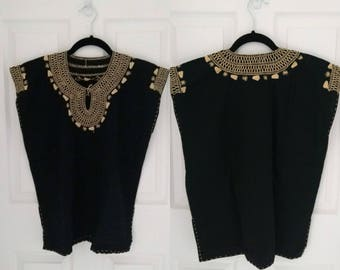 Mexican Hand Embroidered Blouse (Black)