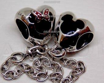 Genuine PANDORA Disney Park, Mickey Heart Safety Chain  - New, Authentic