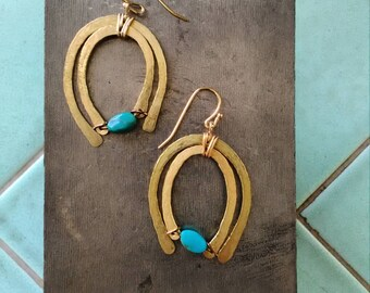 hammered wire handmade hand crafted brass turquoise earrings