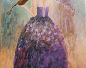 Acrylic Painting in canvas - Hand painted - Playing the Violin