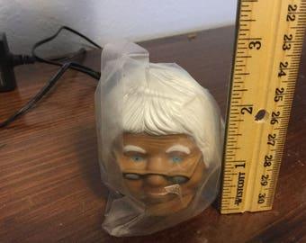 """Rare vintage black plastic granny fiber craft doll head 2.5"""" NIP"""