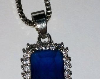 Sapphire blue necklace 80's Solid Sterling Silver
