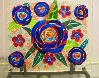 Rose of a Different Color Glass Mosaic Art /Red and Blue Flowers /One of a kind Art/ Centerpiece/Valentine Gift