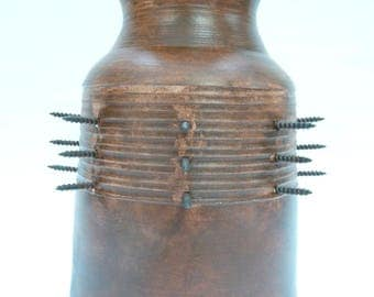 Mahogany Stained Ceramic Vase with Screws