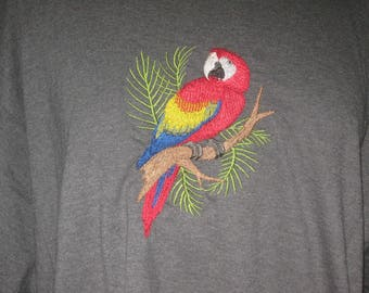 New Scarlet Macaw Embroidered T-Shirt Add Name For Free