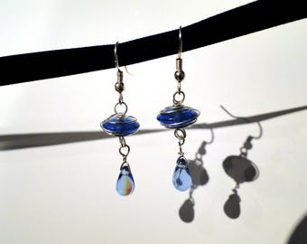 Light Blue Glass Teardrop Earrings #006