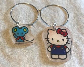 Set of 2 Hello Kitty and friends Shrinky Dink wine charms