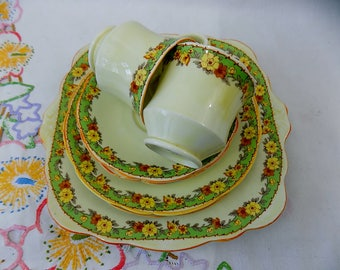 Emily - Vintage Shabby Chic Foley China Tea for Two Set with Cake Plate
