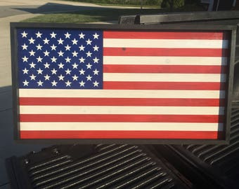 Hand-crafted, Handmade, Custom Wooden American Flag, Stars and Stripes, Flag Art, Red, White, and Blue, Liberty, Freedom, Wood Art