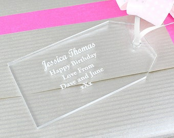 Personalised Acrylic Gift Tag Decoration | Personalized Present Box Accessory Wedding Gifts Favour Tags