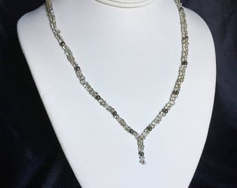 Silver and clear beaded necklace
