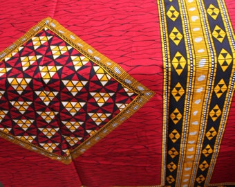 Red and yellow african fabric / Broken plate fabric / African fabric by the yard / African fabric wholesale / African fabrics sale