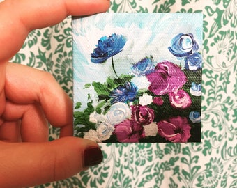 Tiny floral painting 3x3inches acrylic on canvas