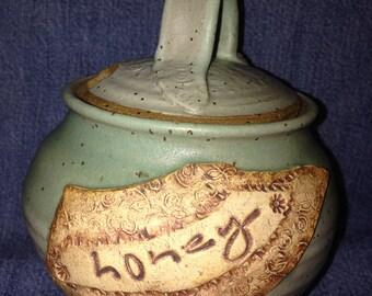 Handmade stoneware clay pottery Honey Jar