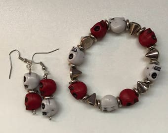 Red & White Skull and Spikes Bracelet and Earrings