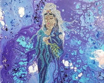 Kuan Yin, Abstract Art, 16x20, Painting, Dot Art, Aboriginal Inspired, CeceliaAshArt,