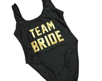Team Bride  Bathing suit, swim suit, one piece- black