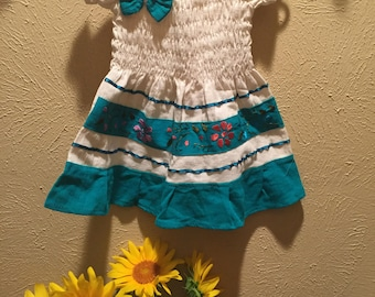 Mexican Manta Dress for baby with Turqoise