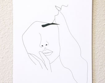 Minimalist portrait line drawing, Art print of a couple, Black and white wall decoration