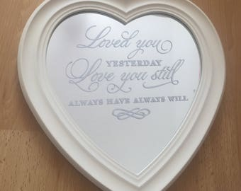 Cream Heart Shaped Mirror, Love You Quote, Wedding, Anniversary, Birthday