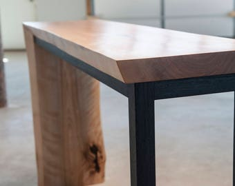 Moxie Falls Waterfall Hall Table in Flame Birch