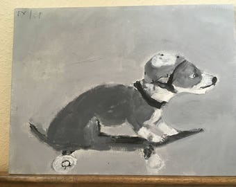 Original oil of dog on skateboard