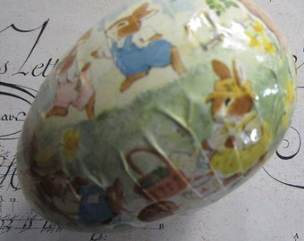 Paper Mache Egg Vintage German Easter Bunny Easter Egg Box 3-1/2 Inch Germany