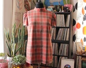 1970s vintage plaid tunic top, orange and brown plaid . womens size large xl APPROX