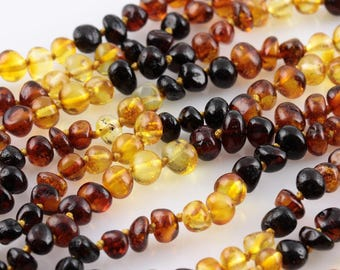 True Baltic Amber teething necklaces, baroque shape Rainbow beads