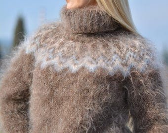 ORDER handmade ICELANDIC sweater mohair jumper fuzzy pullover hand knitted Tneck soft sweater snug fit warm sweater silky jumper Dukyana
