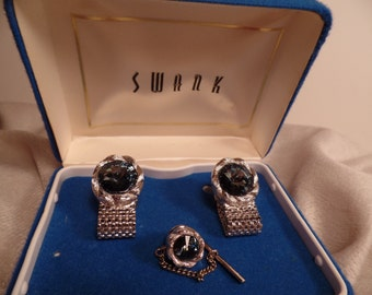 1950's Cuff Links and Tie Tac Set Signed Swank in Original Box
