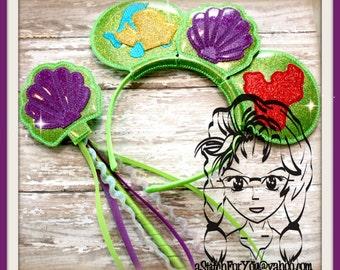 PRINCESS MeRMAID SEASHeLL Inspired (4 Piece) Mr Miss Mouse Ears Headband ~ In the Hoop ~ Downloadable DiGiTaL Machine Emb Design by Carrie