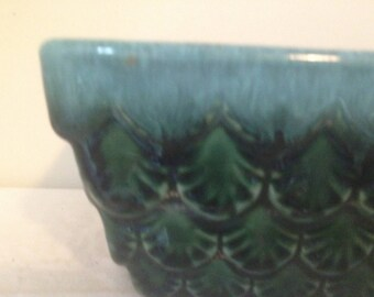 Hull Planter Pineapple Dark Green Bonsai Pot American Pottery Vintage Ceramic Organizer Mid Century 1950s Drip Edge Glaze