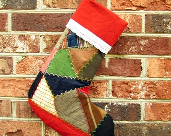 Christmas Stocking - Crazy Quilt - Patchwork Stocking - Vintage Quilt Stocking - Colorful Stocking - boys stocking - embroidered