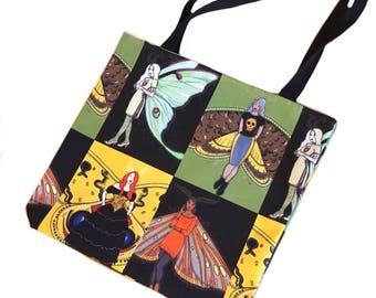 Moth Fairy tote bag - reusable shopping bag - canvas grocery tote - Luna moth, death's head - fairies - book bag - market tote