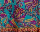 """60s to 70s Novelty fabric - 3 yards / Boho Psychedelic Fan and Floral Print yardage // 3 yard length 51"""" wide"""