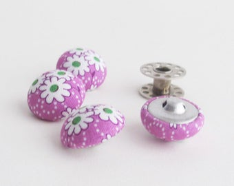 Light Purple Fabric Covered Half Round Buttons 7/8 Inch | 4 shank back buttons to use for embellishments, hair ties, clothing, etc.