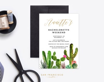 Bachelorette Weekend Invitation | Girls Weekend Invite | Cactus | Desert | Succulent | Bachelorette Party - Printable, Digital Invite