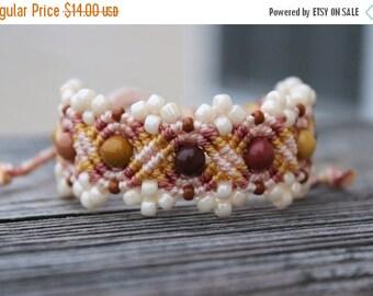 SALE Micro-Macrame Beaded Bracelet - Pink, Gold, Cream