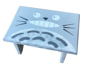 Totoro Step Stool Hand Painted Wood Bathroom Decor Ghibli Gift Collection Kitchen Sink Kids Fun Matching Set