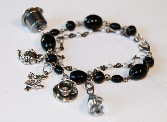 Alice in Wonderland Inspired Charm Bracelet - Black Beaded Bracelet - Pearl Bracelet - OOAK