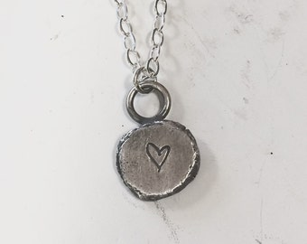 Stamped Recycled Silver Heart Necklace