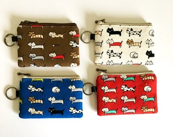 10cm/4inches zipper pouch -cats (4 colours)