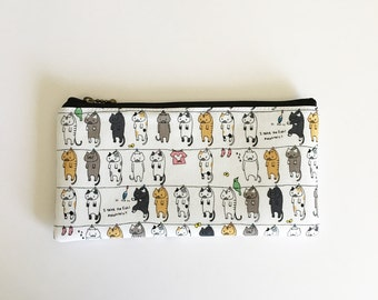 Flat  zipper pouch  -Cats on clothesline(off white)